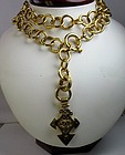 Large couture Chanel Paris belt, necklace w pendant