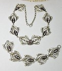 Vintage Mexican sterling silver glass necklace bracelet