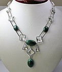 Antique silver paste malachite necklace