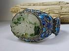 Large Antique Chinese silver cloisonne jadeite bracelet