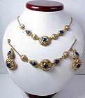 Retro 18k gold lapis lazuli necklace bracelet earrings