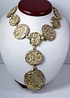 Retro Cartier 18k gold sterling Jackie O coin necklace