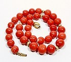 Vintage 14k gold Mediterranean coral bead necklace