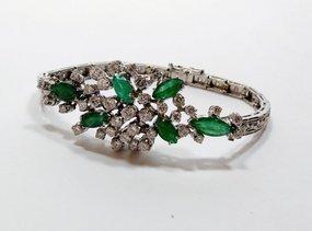 Retro 14k white gold emerald diamond bracelet