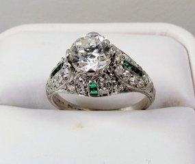 Edwardian platinum diamond emerald  engagement ring