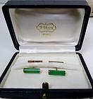 Retro 14k rose gold jadeite jade cufflinks H. Stern box