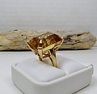 Huge modern 14k gold and emerald cut citrine ring