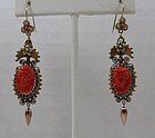 Victorian 14k gold Sardinian red coral cameo earrings