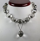 Antique large silver pools of light necklace w pendant