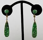 Antique Deco carved jadeite jade dangle earrings