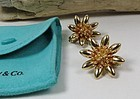 Retro Tiffany & Co 14k gold flower clip on earrings