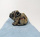 Judith Leiber signed Swarovski crystal pug dog pill box