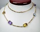Retro 14k gold multi gemstone sautoir necklace