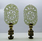 Vintage pair of carved celadon jade lamp finials