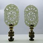 Vintage pair of carved celadon jade lamp finials
