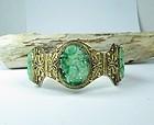 Chinese vermeil silver carved jadeite jade bracelet