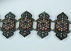 Antique Palestine sterling silver coral garnet bracelet
