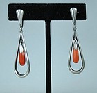 N.E.From Denmark Sterling silver coral earrings