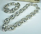 Modern Charles Krypell sterling necklace bracelet set