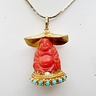 18k gold red coral buddha pendant charm turquoise bead