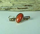Vintage 14k gold genuine Salmon Coral tie clip bar