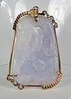 14k gold carved lavender jade diamonds pendant