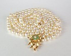 Cultured Akoya pearl necklace 14k gold diamond clasp