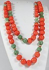 Chinese Red Coral Carved Jadeite Jade Bead necklace