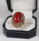 14k Gold Genuine Mediterranean Red Oxblood coral ring