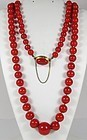 18k gold Mediterranean Red Ox Blood Coral Bead Necklace