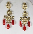 Deco 14k gold genuine red coral chandelier earrings