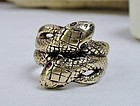 Antique 12k gold two snake ring ruby eyes