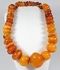 Huge genuine butterscotch amber bead necklace