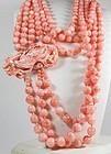 Huge 3 Strand Genuine Angel Skin Coral Bead Necklace