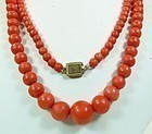Victorian 14k Gold Salmon Coral Bead Necklace 86.3gr