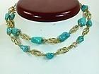 18k Gold Persian Turquoise Bead Sautoir Necklace