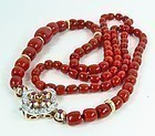 Deco 14k ruby diamond Oxblood coral bead necklace