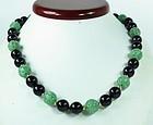 Vintage 14k gold carved jadeite jade onyx bead necklace