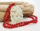 14k Gold Red Coral Bead Necklace White Jade Pendant