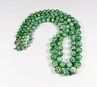 Antique 2 strand genuine jadeite jade bead necklace