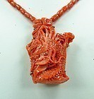 Chinese 18k Gold Carved Red Coral Dragon Necklace