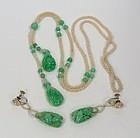 18k Gold Apple Green Jade Seed Pearl Necklace Earrings