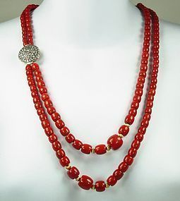 Deco 14k Gold Diamond Red Oxblood Coral Necklace