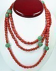 "14k gold red coral carved jade necklace 56"" long"