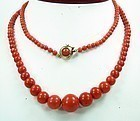 Antique Genuine Red Sardinian Coral Bead Necklace
