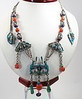 Antique Chinese Silver Coral Turquoise Court Necklace