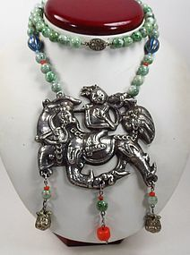 Large vintage Chinese silver jade coral court necklace