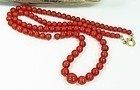 Vintage 18k Gold Red Coral Bead Necklace 48.8 Grams