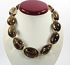 Huge Smokey Topaz & Citrine Bead Necklace