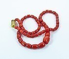 14k gold genuine red coral bead necklace 75 grams